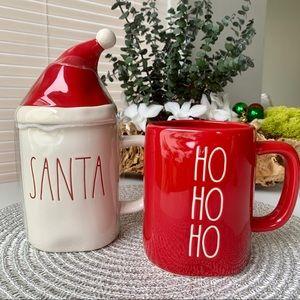 🎄Rae Dunn 'HO HO HO' Mug & 'SANTA' mug with lid🎄
